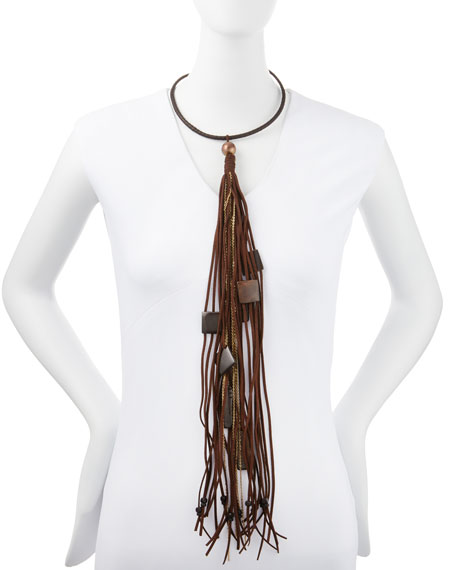 Leather Choker Necklace with Long Tassel