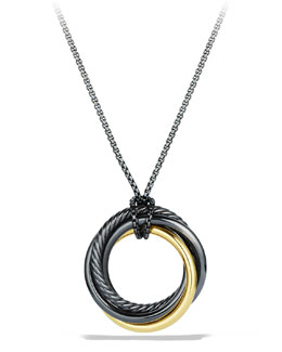 David Yurman Black & Gold Crossover Pendant on Chain
