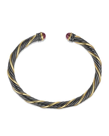 Black & Gold Cable Bracelet with Rhodolite Garnet