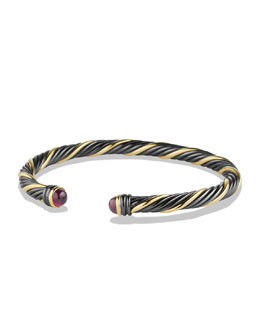 David Yurman Black & Gold Cable Bracelet with Rhodolite Garnet