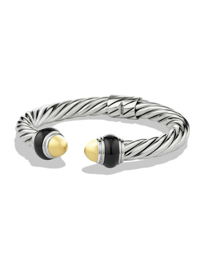 David Yurman Cable Classics Bracelet with Gold Domes and Black Onyx