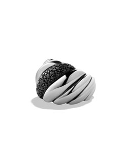 David Yurman Hampton Cable Ring with Black Diamonds