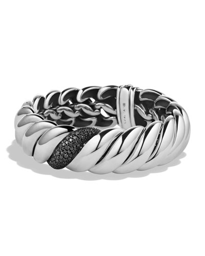 David Yurman Hampton Cable Bracelet with Black Diamonds