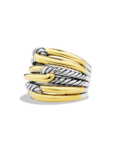 Labyrinth Triple-Loop Ring with Gold