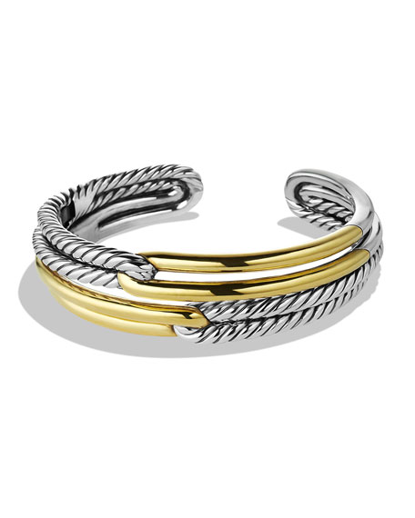 David Yurman Labyrinth Double-Loop Cuff with Gold