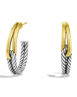David Yurman Labyrinth Hoop Earrings with Gold