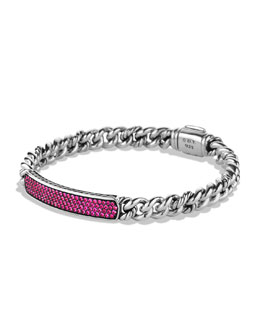 David Yurman Petite Pavé ID Bracelet with Pink Sapphires