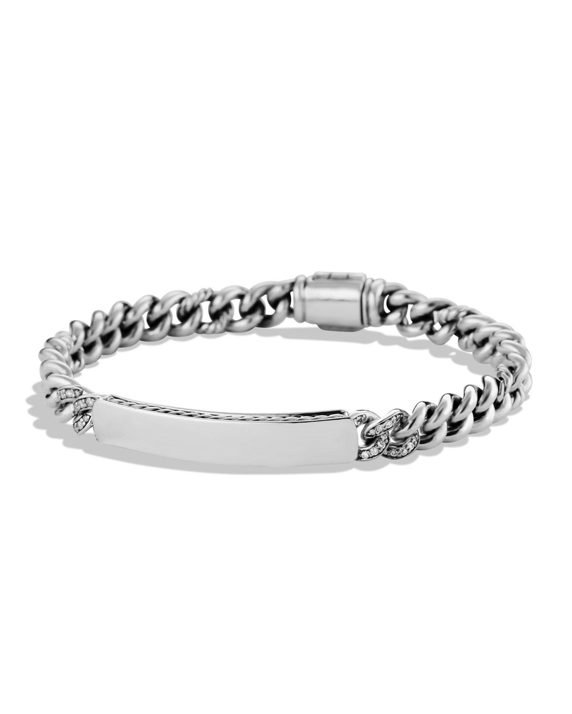 Pee Pave Curb Link Id Bracelet With Diamonds
