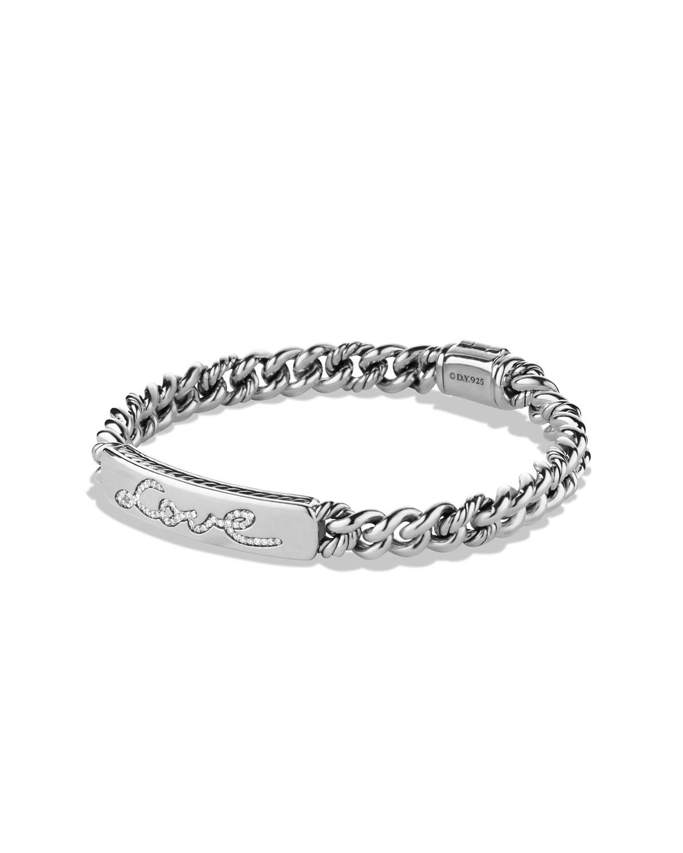 Pee Pave Curb Link Love Id Bracelet With Diamonds