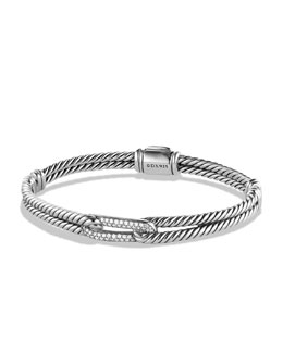 David Yurman Petite Pavé Labyrinth Mini Single-Loop Bracelet with Diamonds