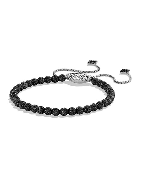 Petite Pave Spiritual Bead Bracelet with Black Diamonds