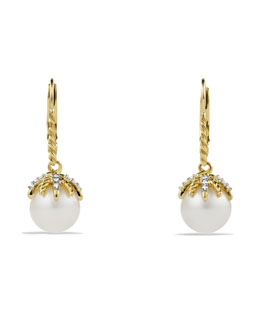 David Yurman Starburst Drop Earrings with Diamonds and Pearls in Gold