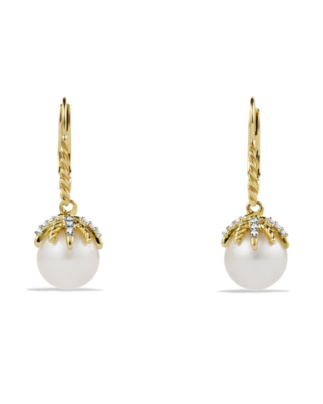 Starburst Drop Earrings with Diamonds and Pearls in Gold