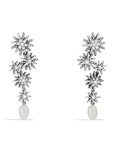 David Yurman Starburst Drop, Earrings with Pearls and Diamonds