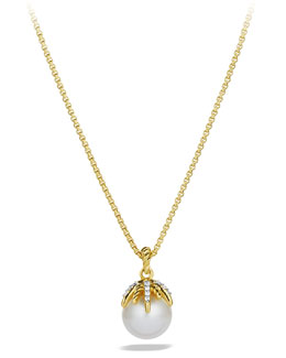 David Yurman Starburst Pearl Pendant with Diamonds in Gold on Chain