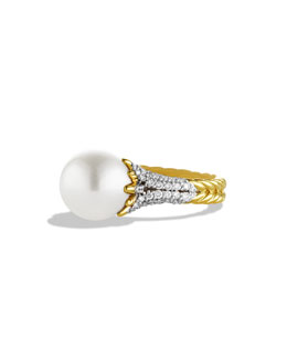 David Yurman Starburst Pearl Ring with Diamonds in Gold