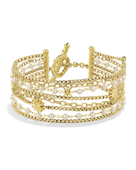 Starburst Chain Bracelet with Pearls in Gold