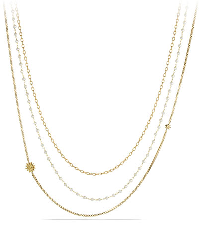 David Yurman Starburst Chain Necklace with Pearls in Gold