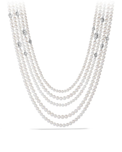 David Yurman Starburst Pearl Multi-Row Necklace with Diamonds