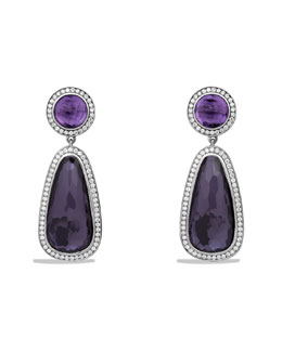 David Yurman Color Classics Double Drop, Earrings with Black Orchid, Amethyst and Diamonds