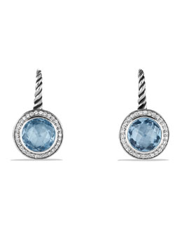 David Yurman Color Classics Drop Earrings with Blue Topaz and Diamonds