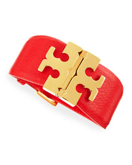 Tory Burch Wide T Hinge Bracelet, Cherry