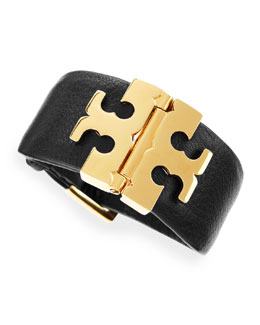 Tory Burch Wide T Hinge Bracelet, Black