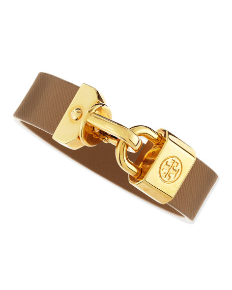 Lock-Closure Leather Bracelet, Beige