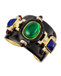 Kenneth Jay Lane Enameled Deco Cuff with Crystals, Black