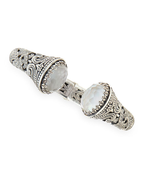 Aura Silver & Mother-of-Pearl Hinged Bracelet