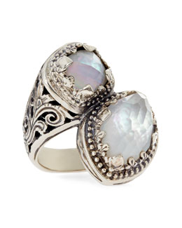 Konstantino Aura Silver & Mother-of-Pearl Bypass Ring