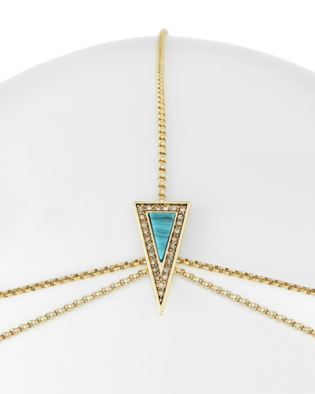 Hera Double-Tiered Triangle Head Piece, Golden/Turquoise