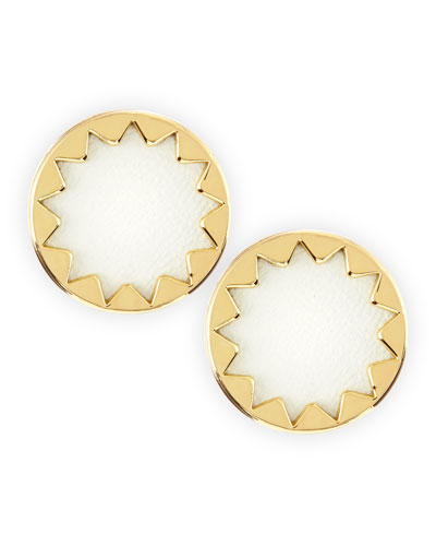 House of Harlow Sunburst Button Stud Earrings, White