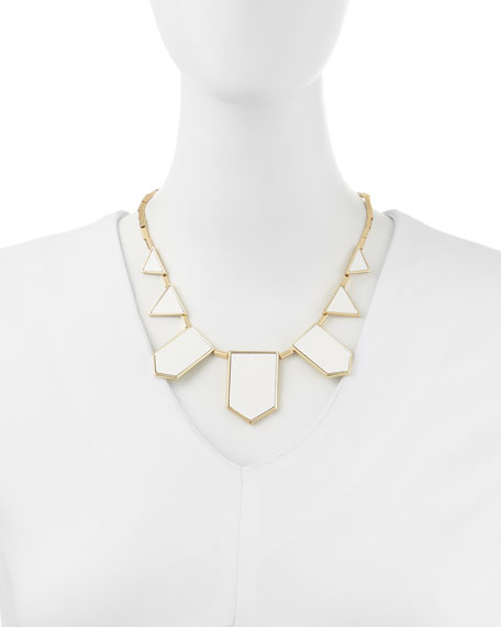 Geometric Leather-Inlay Station Necklace, White