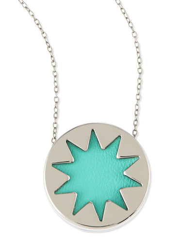 House of Harlow Mini Sunburst Pendant Necklace, Robin's Egg Blue (Stylist Pick!)