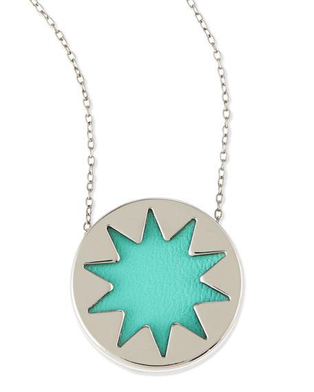 Mini Sunburst Pendant Necklace, Robin's Egg Blue (Stylist Pick!)