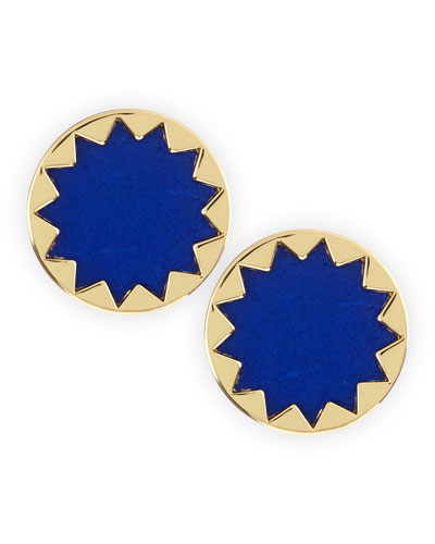 House of Harlow Sunburst Button Stud Earrings, Cobalt