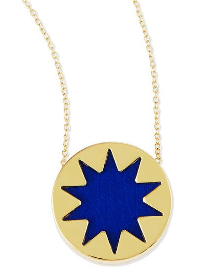 Mini Sunburst Pendant Necklace, Cobalt
