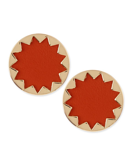 Sunburst Button Stud Earrings, Coral