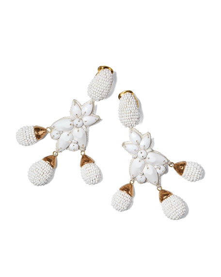 Beaded Star Clip-On Earrings, White