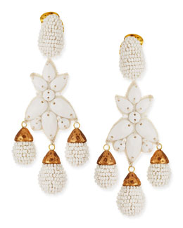 Oscar de la Renta Beaded Star Clip-On Earrings, White