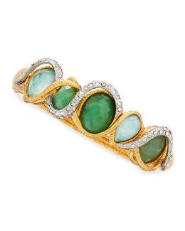 Alexis Bittar Maldivian Golden & Green Stone Bracelet