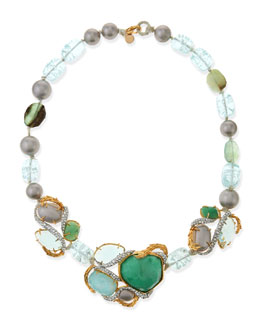Alexis Bittar Maldivian Necklace with Green Stones