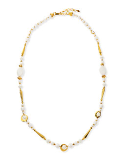 Jose & Maria Barrera Long 24k Gold Plate & White Bead Necklace