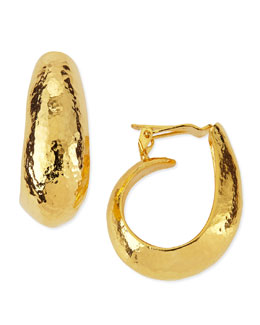 Jose & Maria Barrera Hammered Gold Plated Clip-On Hoop Earrings