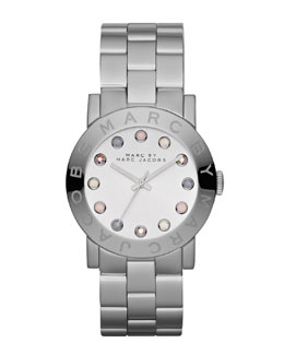 MARC by Marc Jacobs Amy Matte Stainless Steel Watch with Crystals
