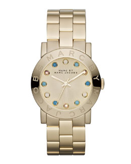 MARC by Marc Jacobs Amy Matte Yellow Golden Watch with Crystals