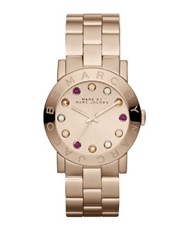 MARC by Marc Jacobs Amy Matte Rose Golden Watch with Crystals