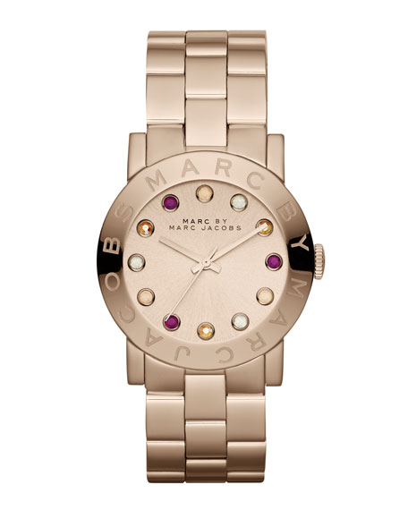 Amy Matte Rose Golden Watch with Crystals