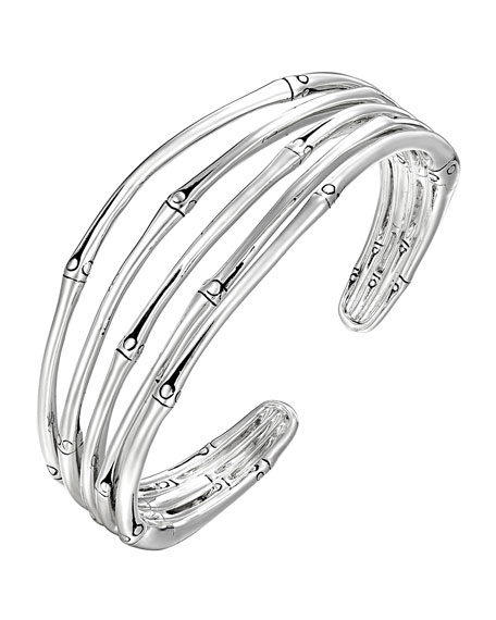 Bamboo Silver Narrow Flex Cuff